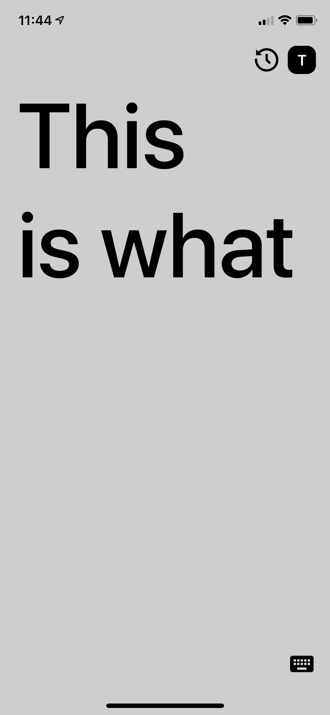 The screen is slightly darkened while listening, and the what a user is saying is beginning to appear
