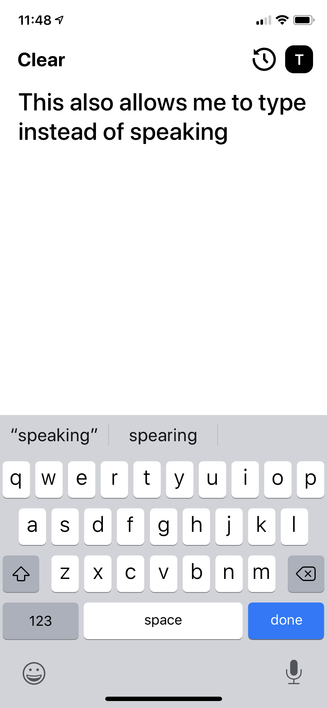 An example of using the keyboard for input instead of speech.