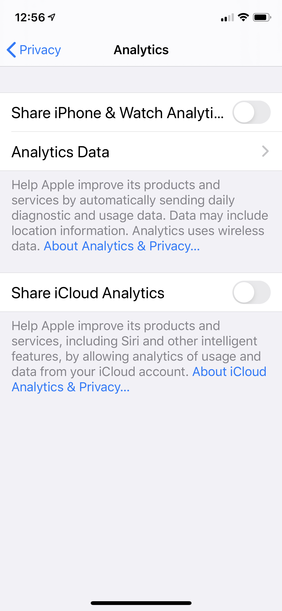 The iOS Settings app's Privacy > Analytics screen with both analytics options unchecked.