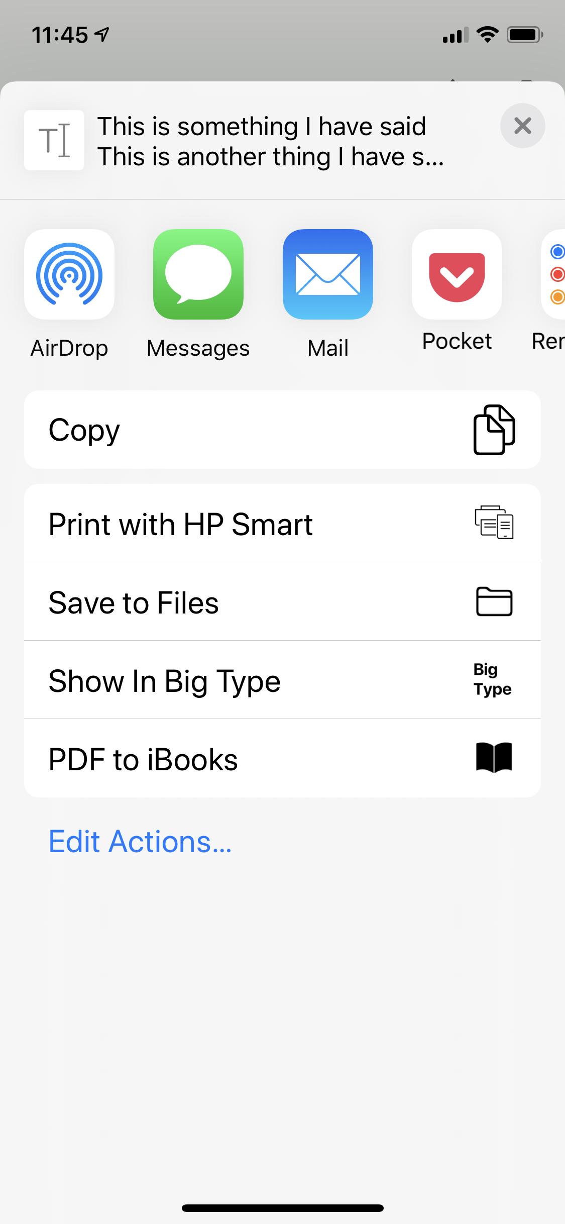 iOS Share Sheet invoked from the History screen.