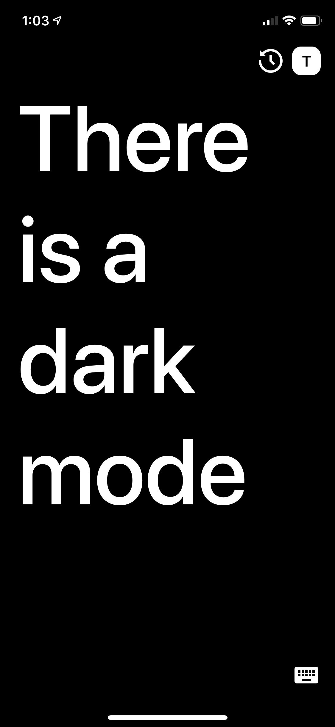 Example screen of the app in dark mode, with a black background and white text.