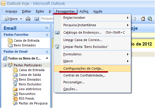 Alteração de senha - Outlook 2007