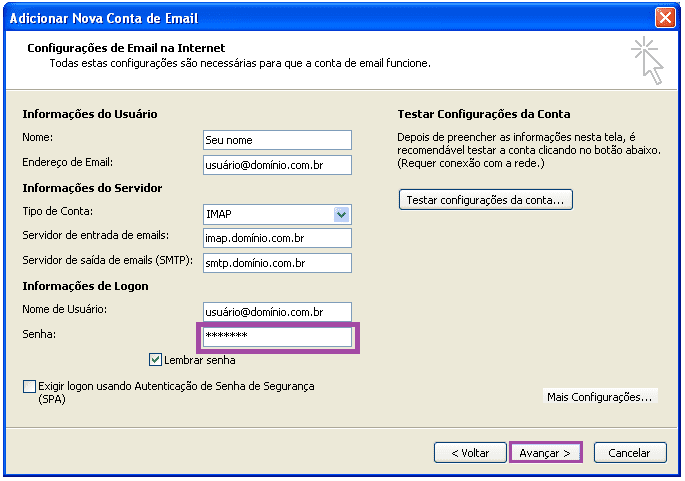 alterar a senha de uma conta no Outlook 2007