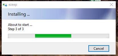 screenshot: install the ezeep for desktop application