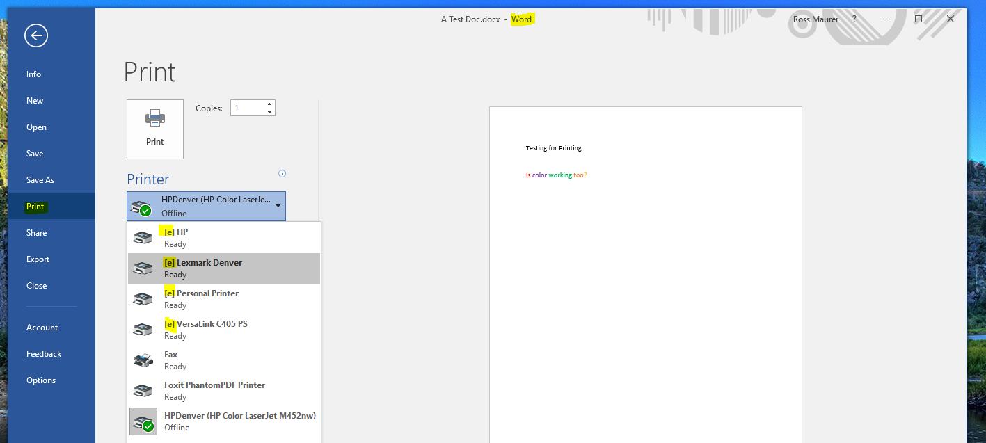 screenshot: print the document using ctrl+p and select the [e] printer