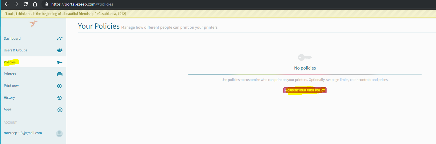 screenshot: create your first policy