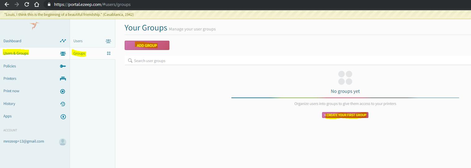 screenshot: add a group in ezeep