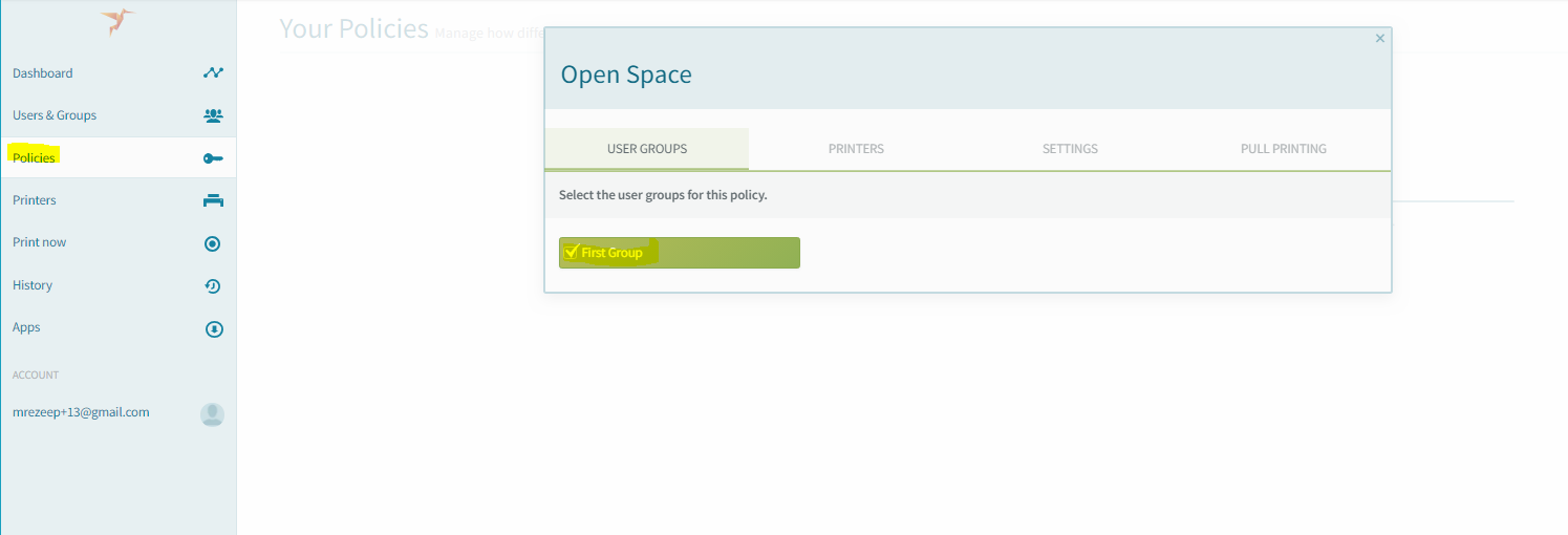 screenshot: choose user group for your policy