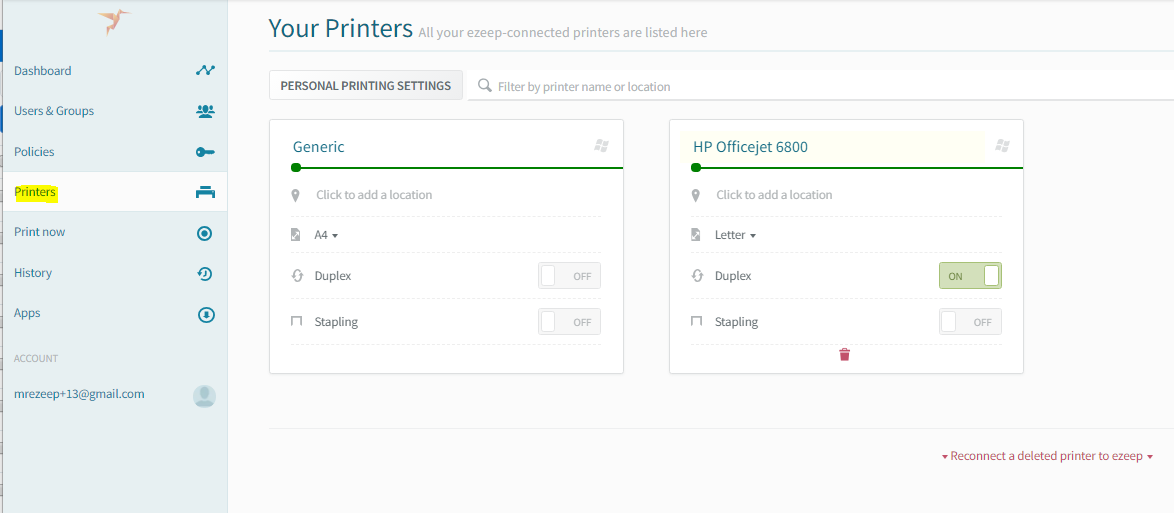 screenshot: see the ezeep printers in your account