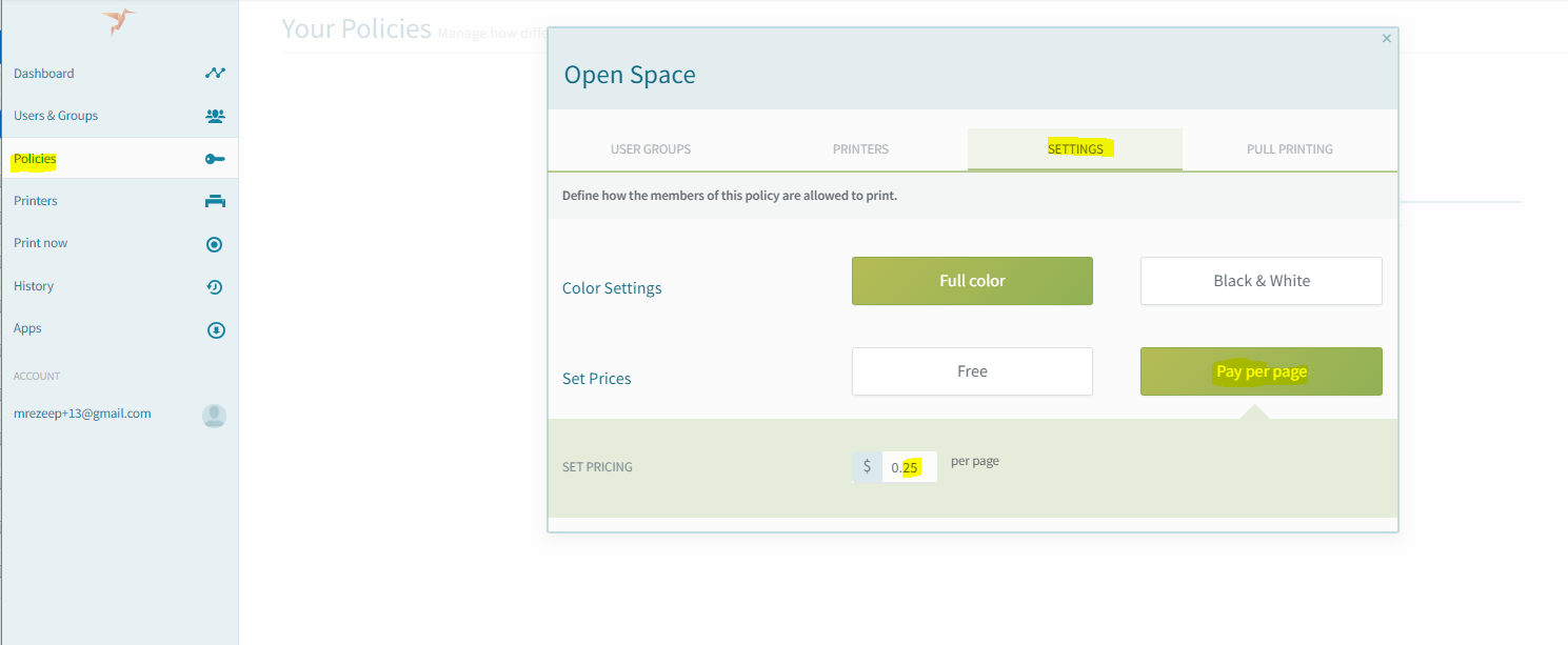 screenshot: configure a per page price in a policy