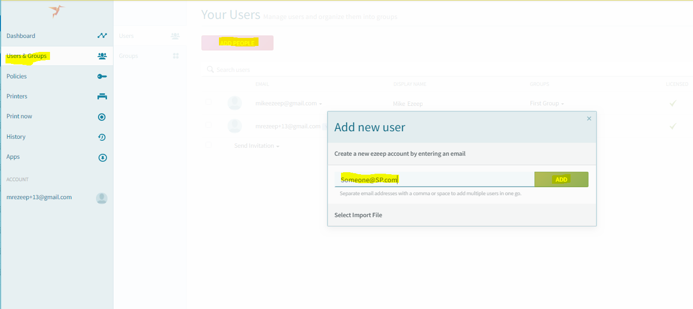 screenshot: invite new user by email address