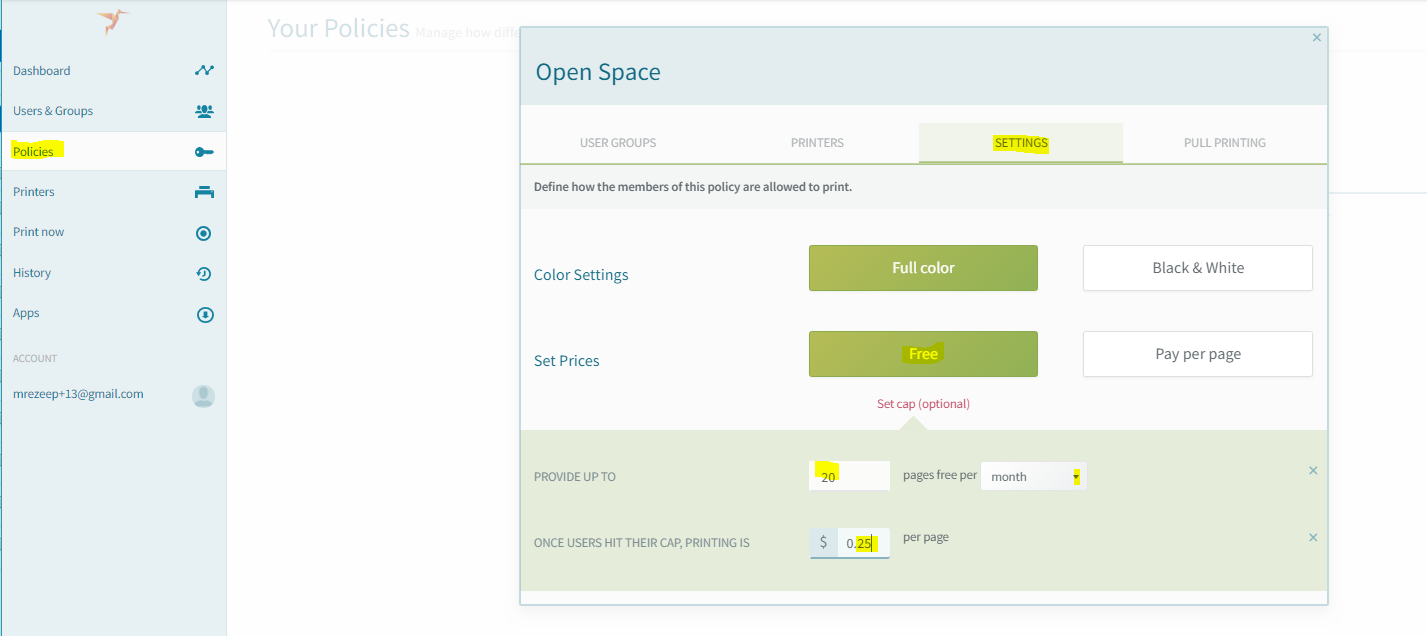 screenshot: configure per page price after quota is exceeded