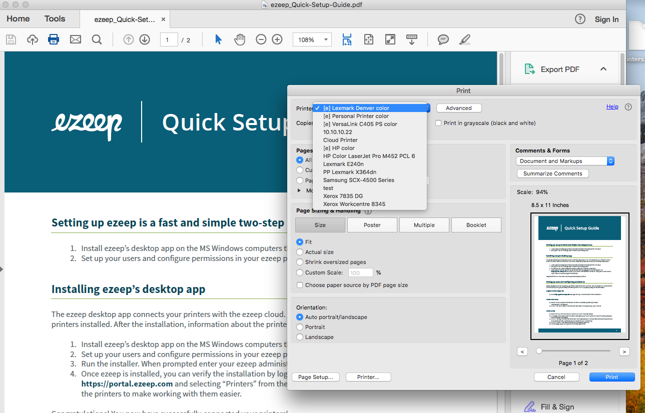 screenshot: open a document in an application and print, selecting an [e] printer