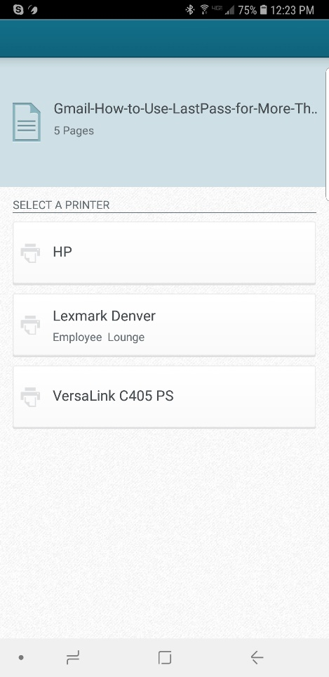 screenshot: select your printer in the app