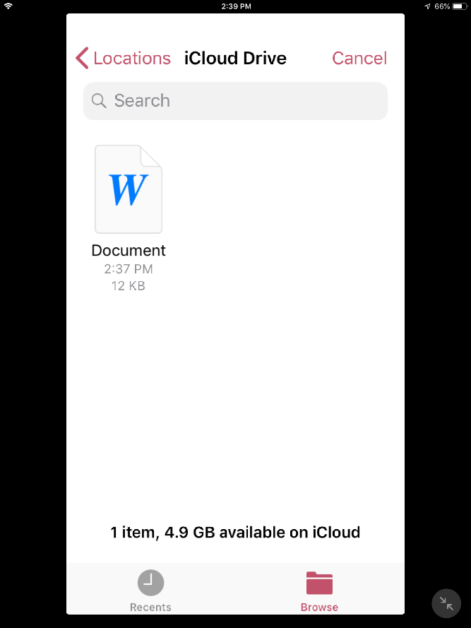 screenshot: select a document to print from your iCloud drive