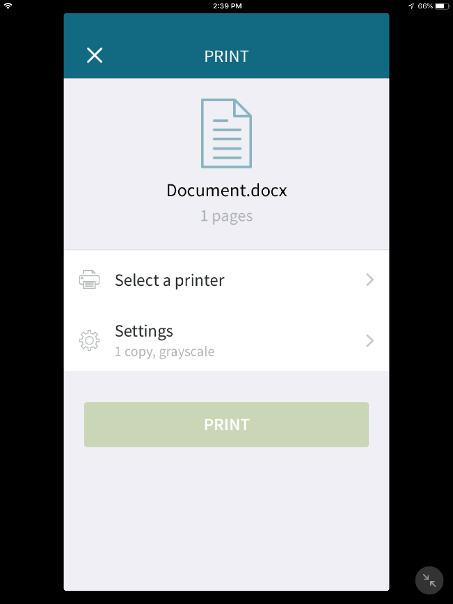 screenshot: select settings for document
