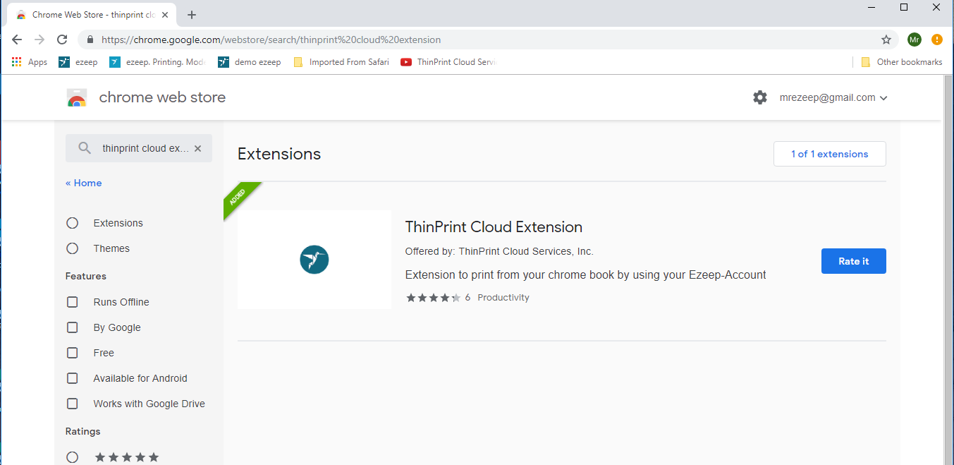 screenshot: search for ThinPrint Cloud Extension