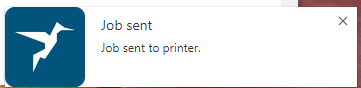 screenshot: notification of job sent to the printer