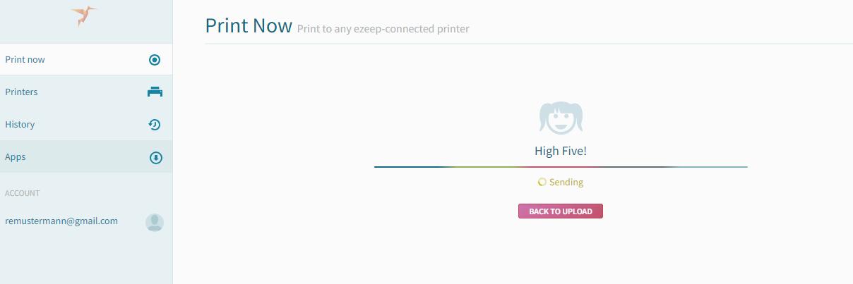 screenshot: print status Sending