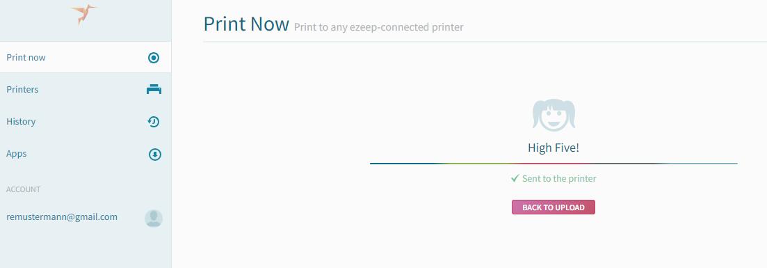 screenshot: print status Sent to the printer