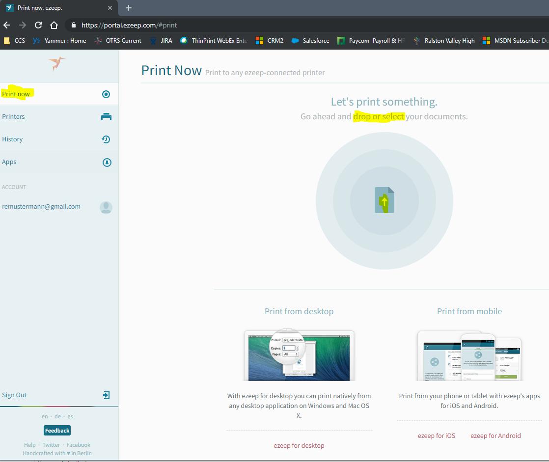 screenshot: Print Now in ezeep portal