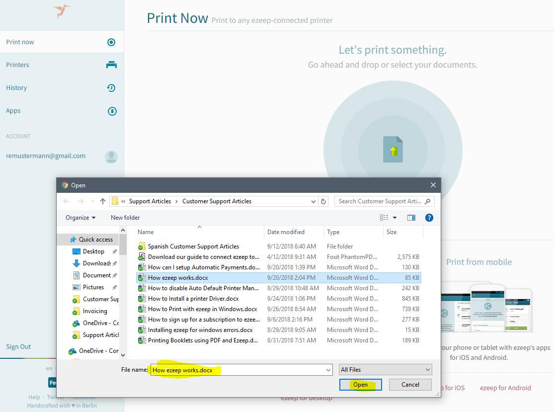 screenshot: selecting document to print via file dialog
