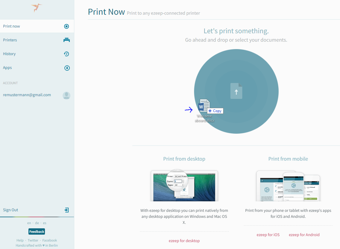 screenshot: drag&drop document to print