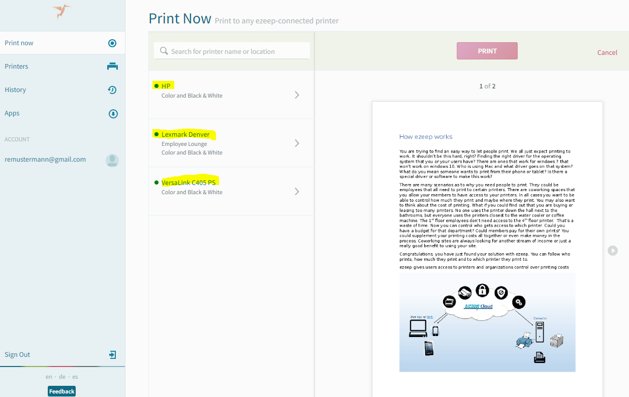 screenshot: printer list and document preview