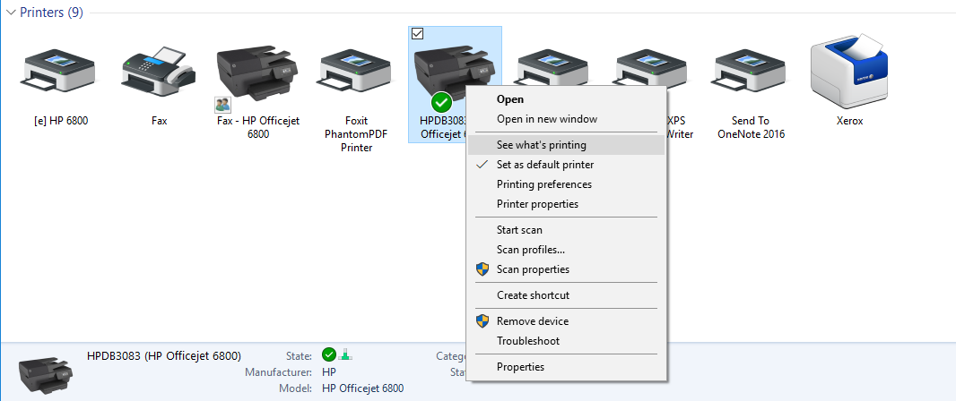 screenshot: printer menu in Devices and Printers