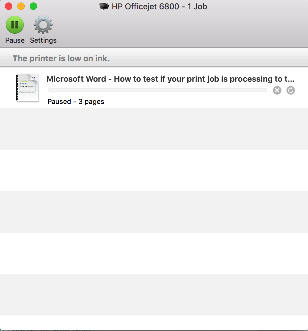 screenshot: a printer queue