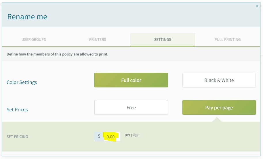 screenshot: configure policy pricing