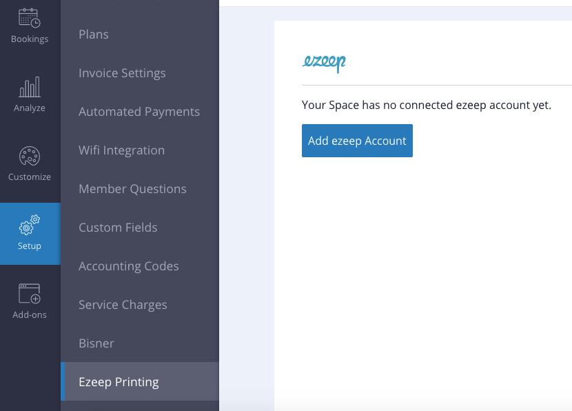 screenshot: ezeep printing in Cobot portal