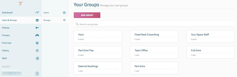 screenshot: groups in ezeep