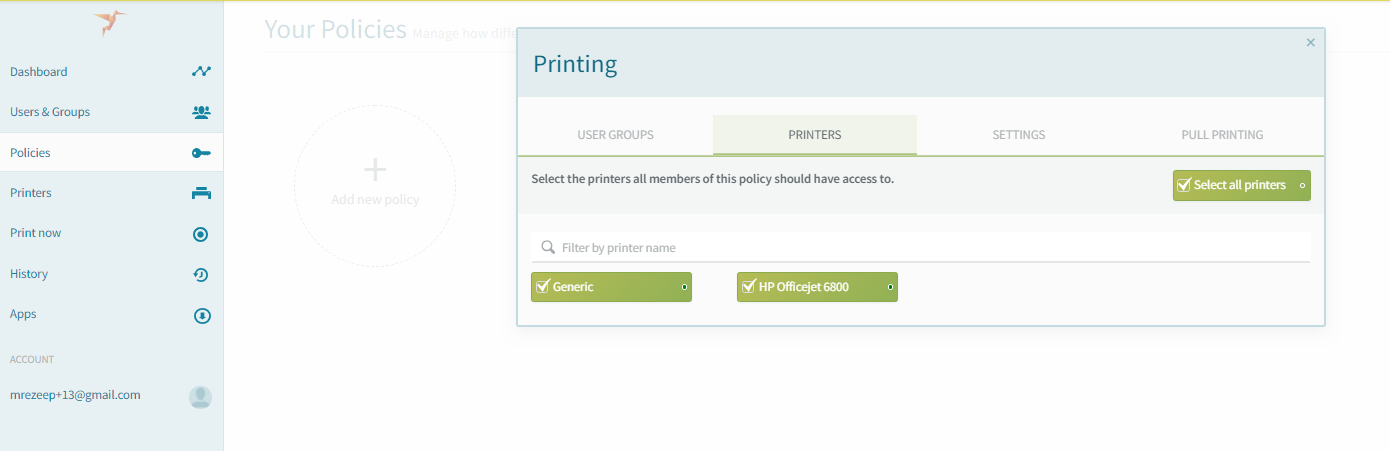 screenshot: select printers for policy