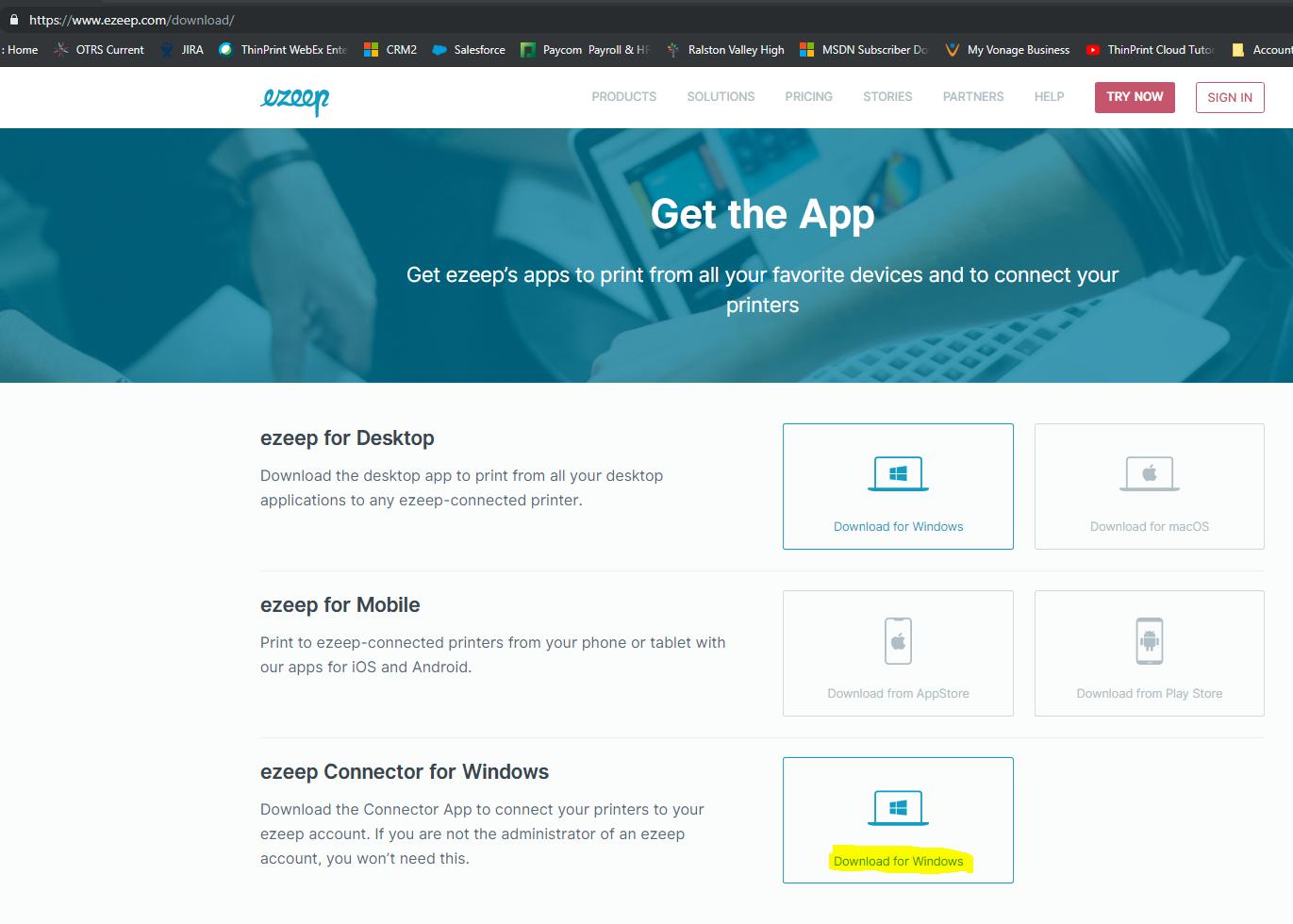 screenshot: download the ezeep connector