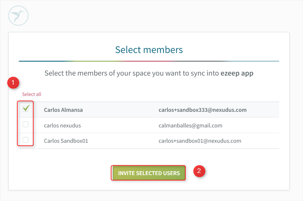 screenshot: selecting members to import to ezeep