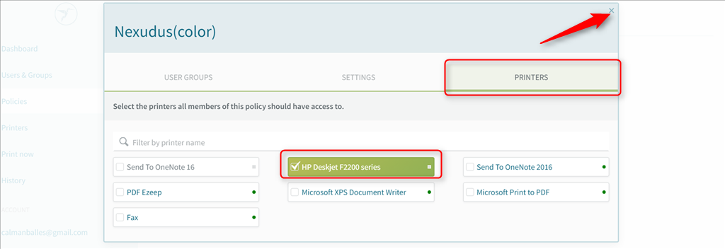 screenshot: policy configuration in ezeep