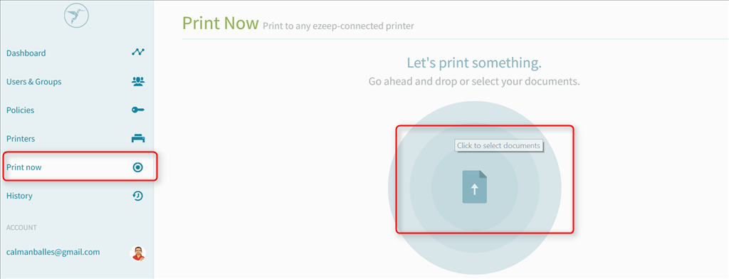 screenshot: printing from the ezeep web portal