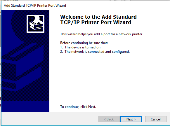 screenshot: follow the wizard prompts for adding a new port