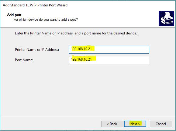 screenshot: enter the printer's IP address