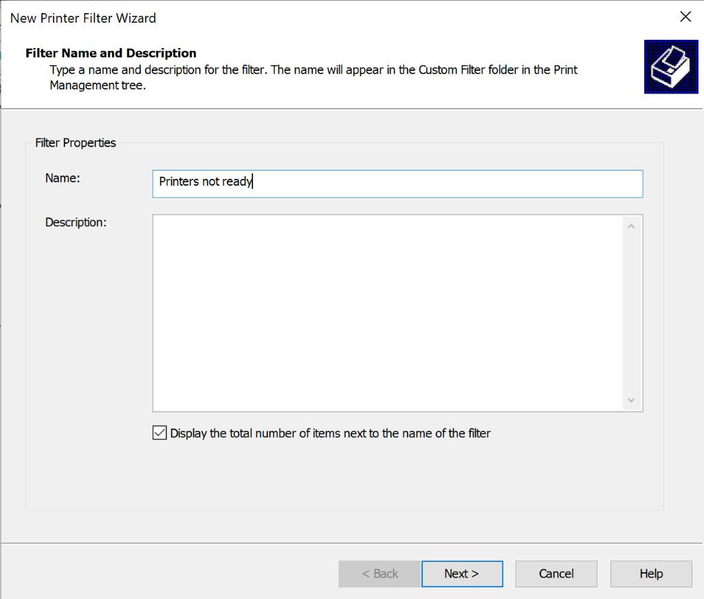 screenshot: name the printer filter