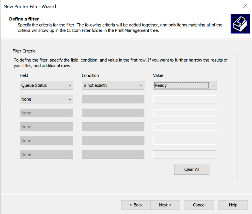 screenshot: define the conditions for the printer filter