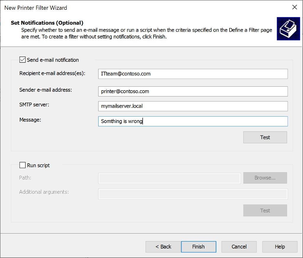 screenshot: configure notification for the printer filter