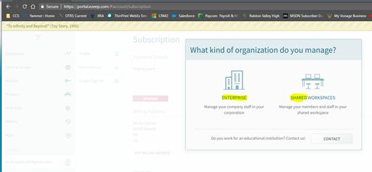 screenshot: select organization type