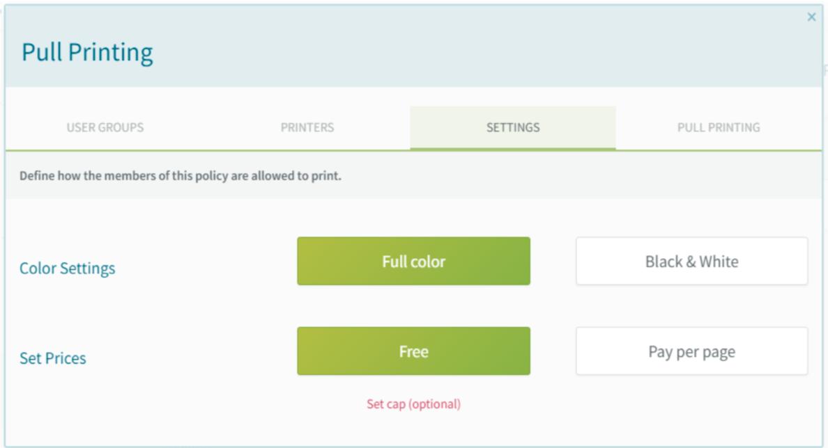screenshot: Pull Printing policy