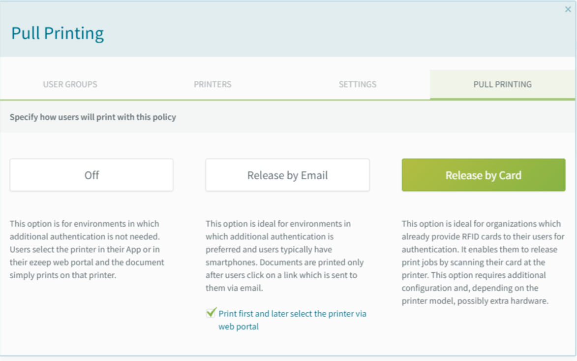 screenshot: Pull Printing policy configured for Release by Card