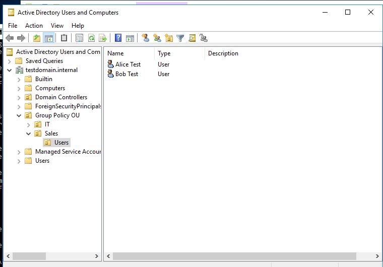 screenshot: Active Directory Users and Computers
