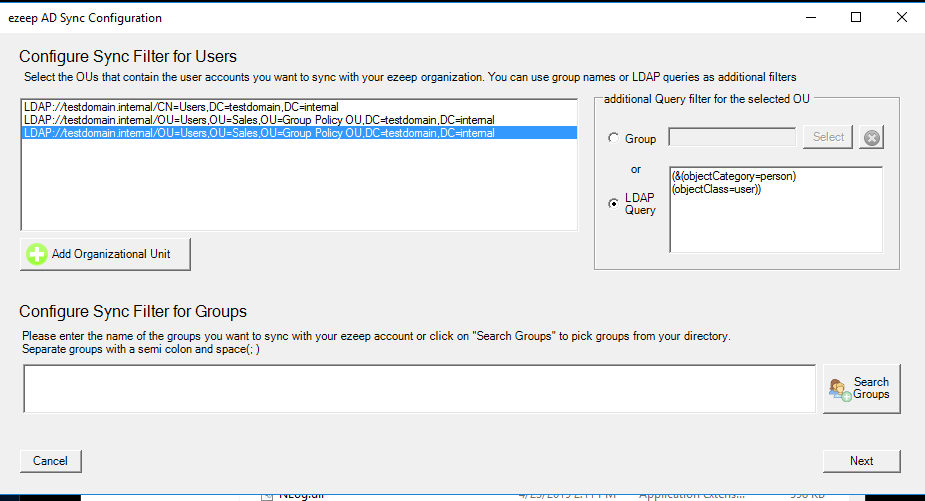 screenshot: configure sync filters for AD users