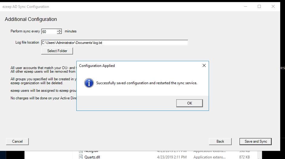 screenshot: save configuration and start syncing