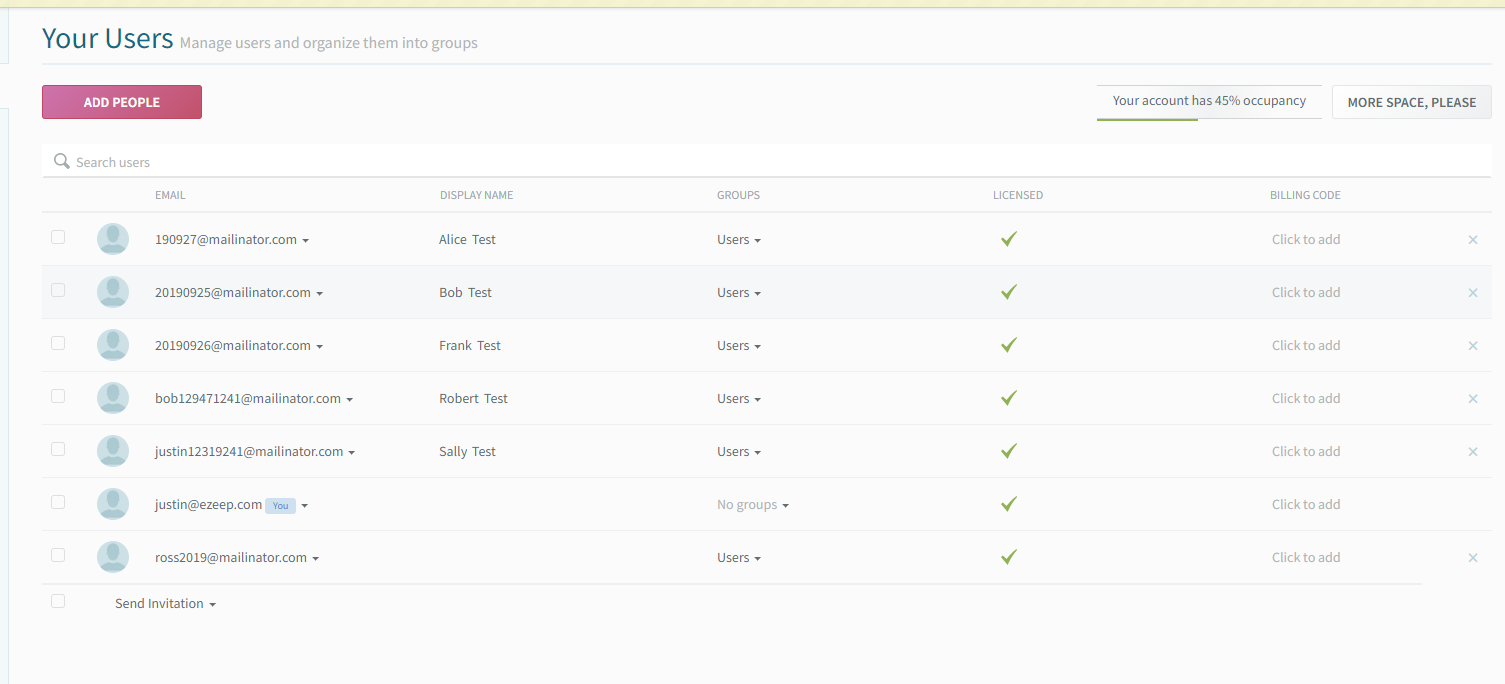 screenshot: ezeep user list